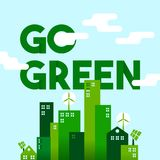 Green city flat art concept for environment care Royalty Free Stock Photography