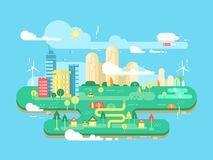 Green city flat Royalty Free Stock Images