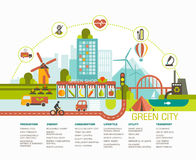 Green city flat design. Eco city illustration with different icons and symbols Royalty Free Stock Photo