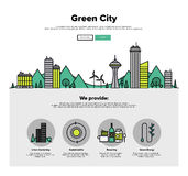 Green city flat line web graphics Royalty Free Stock Photo