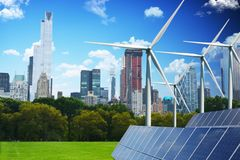 Green city of the future concept, powered only by renewable energy stock photography