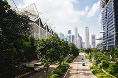 Green city of the future. City of the future. Harmony of city and nature. Sunny day in the big city Stock Photo