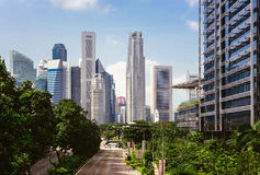 Green city of the future. City of the future. Harmony of city and nature. Sunny day in the big city Royalty Free Stock Photo