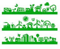 Green city icons Royalty Free Stock Photography