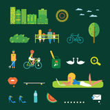 Green city illustration set Royalty Free Stock Photo