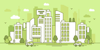 Green city. Illustration about urban life, banner Royalty Free Stock Photography