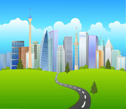 Green City Landscape with road Royalty Free Stock Photos