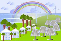 Green city landscape with solar panels, wind power, buildings Stock Photos