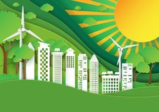 Green city with nature landscape and sunshine paper art style Stock Photography