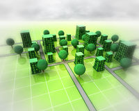 Green city ortogonal structure background Royalty Free Stock Image