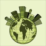 Green city over globe Royalty Free Stock Image