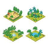 Green City Park Concept Set 3d Isometric View. Vector. Green City Park Concept Set 3d Isometric View on a White Background Element Map. Vector illustration of stock illustration