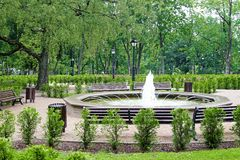 Green city park with fountain Royalty Free Stock Photography