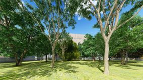 Green city park in sunny and beautiful summer day 3d rendering Royalty Free Stock Photography
