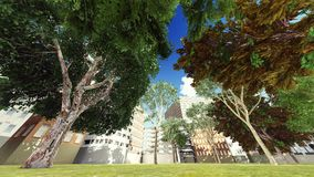 Green city park in sunny and beautiful summer day 3d rendering Stock Photo
