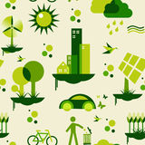 Green city pattern. Sustainable city development with environmental icons conservation endlessly pattern. Vector file layered for easy manipulation and custom Stock Photos