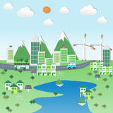 Green city with renewable energy. On mountain and river scene stock illustration