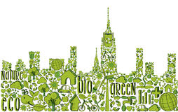 Green city silhouette with environmental icons Royalty Free Stock Photos