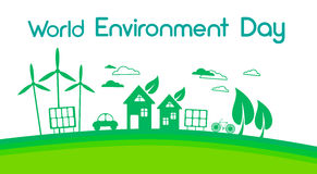 Green City Silhouette Wind Turbine Solar Energy Panel World Environment Day Stock Photography