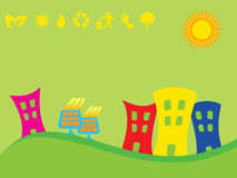 Green city with solar panels Royalty Free Stock Photo