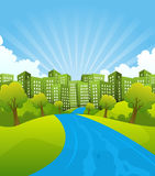Green City In Summer Time stock illustration