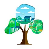 Green city tree concept for environment care vector illustration