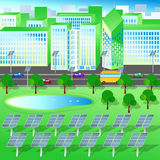 Green city, trees lake, renewable energy, solar panels Royalty Free Stock Photos
