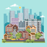 Green city vector concept. Infographic with set of buildings, infrastructure, modern technology and plants. Flat design stock illustration