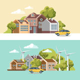 Green city vector concept. Infographic with set of buildings, infrastructure, modern technology and plants. Wind power stations. Flat design stock illustration