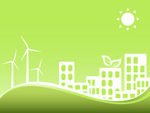 Green city with wind turbines Stock Photography