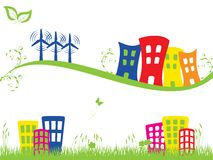 Green city with wind turbines Royalty Free Stock Photography