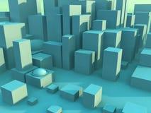 Green Cityscape. Cityscape 3D rendering stock illustration