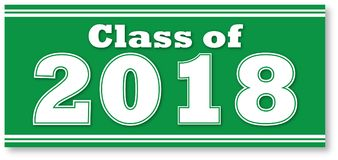 Green Class of 2018 Banner. Green Graduating Class of 2018 Banner for Graduation Royalty Free Stock Images
