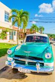 Green classic American car in Havana, Cuba Royalty Free Stock Photography