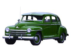Green classic car. Photograph of an old classic green car in mint condition, shining chrome and highly polished finish , absolutely beautiful, isolated with Stock Image