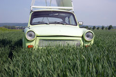 Green classic car in cornfield Stock Photography
