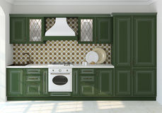 Green classic kitchen. Royalty Free Stock Images