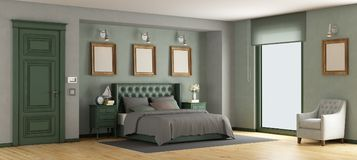 Green classic master bedroom Royalty Free Stock Photo