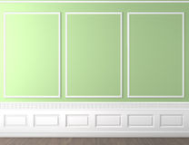 Green classic wall copy space. Interior scene of empty green and white classic wall with copy space Royalty Free Stock Image