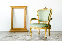 Green classical style Armchair sofa couch with frame in vintage Royalty Free Stock Photo