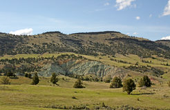 Green Clay Mountain And Pasture. A green clay hillside is cut out of lush field Stock Image