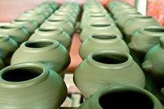 Green clay pots Royalty Free Stock Photography