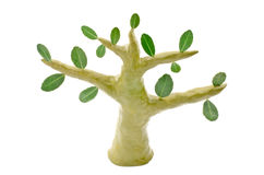 Green clay tree. Set isolated on white background Stock Image