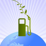 Green clean fuel pump on world. Vector illustration of fuel pump for green clean fuel related to hydrogen, electric cars, natural bio oils and solar cell driven Royalty Free Stock Images