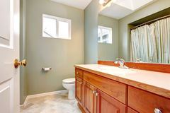 Green clean new bathroom with wood cabients. Stock Photo