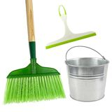Green cleaning. Broom, squeegee and pail on a white background Royalty Free Stock Photo
