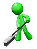 Green Cleaning Man, Environmental Services. Environmental cleaning and sanitation services. A green man pushing a broom. Great example of caring for the eco Royalty Free Stock Images