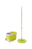Green cleaning mop and bucket Royalty Free Stock Photo