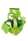 Green Cleaning Supplies Shot at Angle Stock Photography