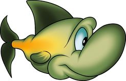 Green clever fish. Fish 16 - High detailed illustration - Green clever fish Royalty Free Stock Photography